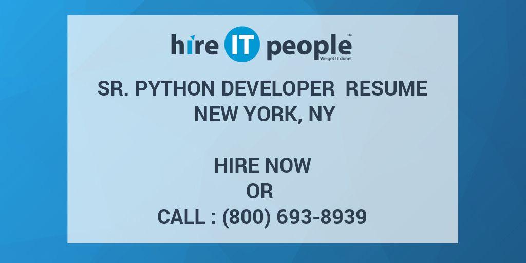 SR  PYTHON DEVELOPER Resume New York, NY - Hire IT People