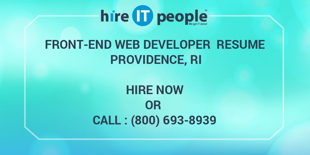 Front-end Web Developer Resume Providence, RI - Hire IT
