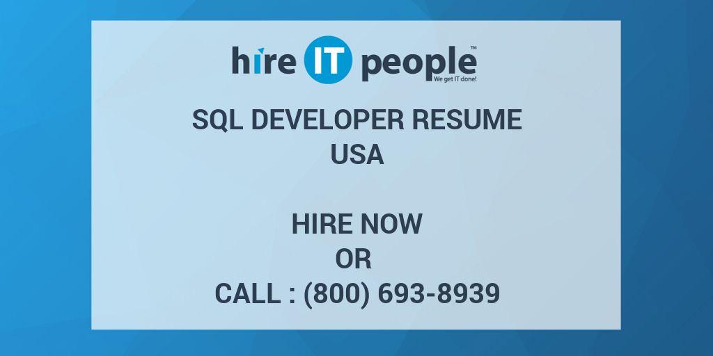 SQL Developer Resume - Hire IT People - We get IT done