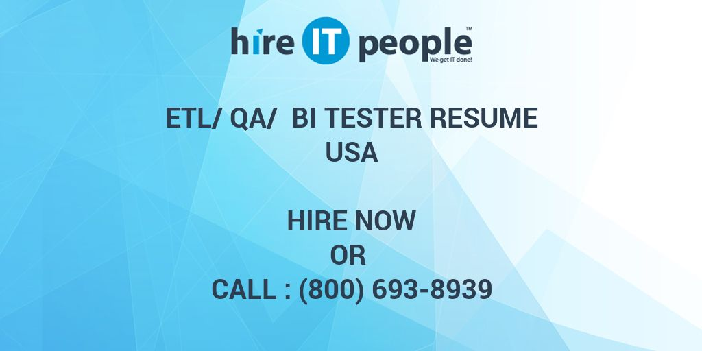 Resume Qualification Examples Pdf Etlqa Bi Tester Resume  Hire It People  We Get It Done Quality Manager Resume Word with Blank Resume Templates For Microsoft Word Word  Cover Letter Resume Examples Word