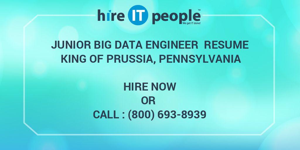junior big data engineer resume king of prussia