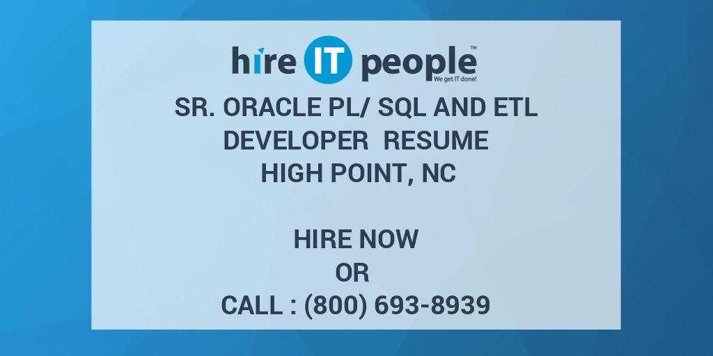 Sr  Oracle PL/SQL and ETL Developer Resume High Point, NC