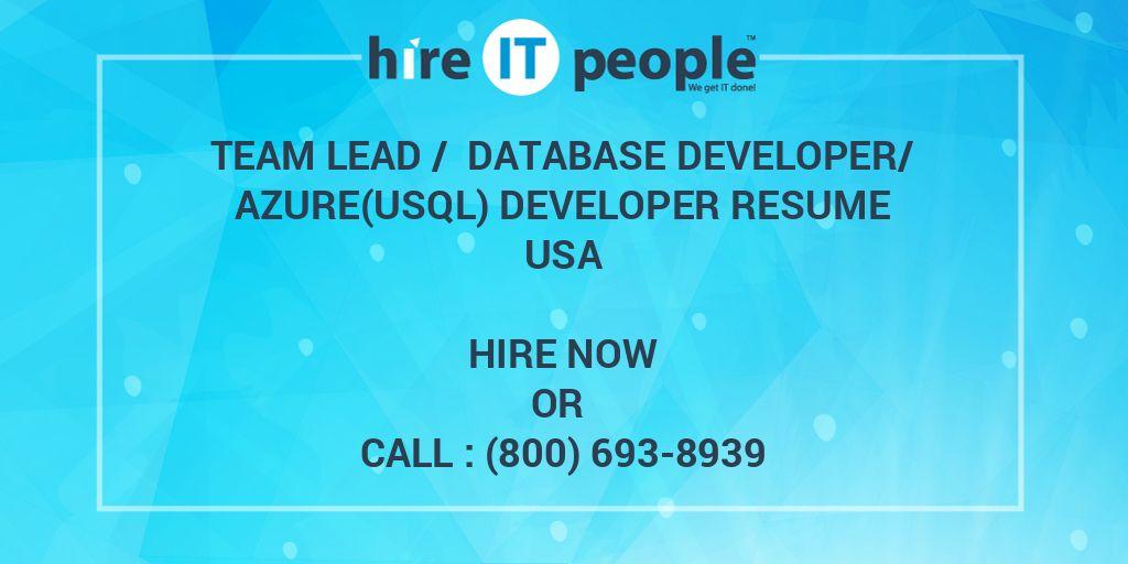 team lead  database developerazureusql developer