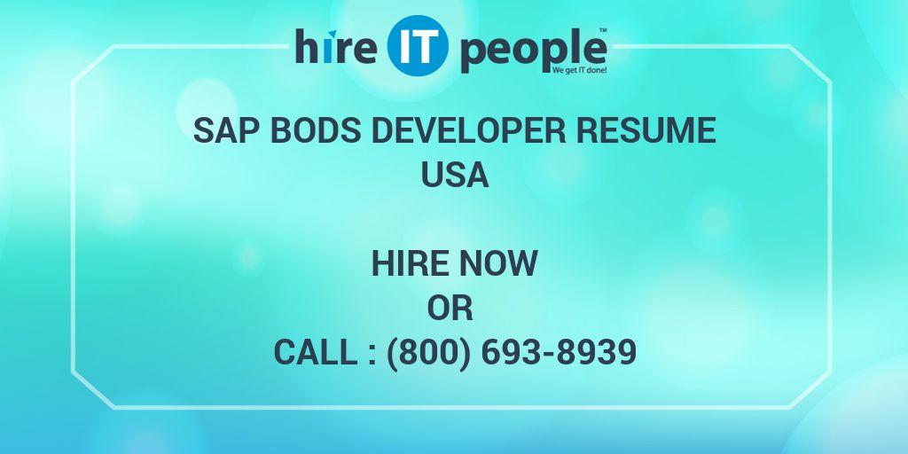 sap bods developer resume hire it people we get it done