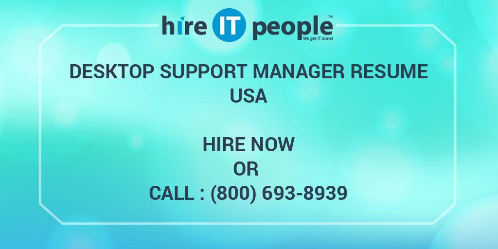 Desktop Support Manager Resume