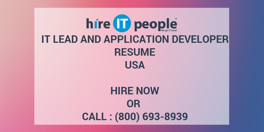 IT Lead and Application Developer Resume - Hire IT People