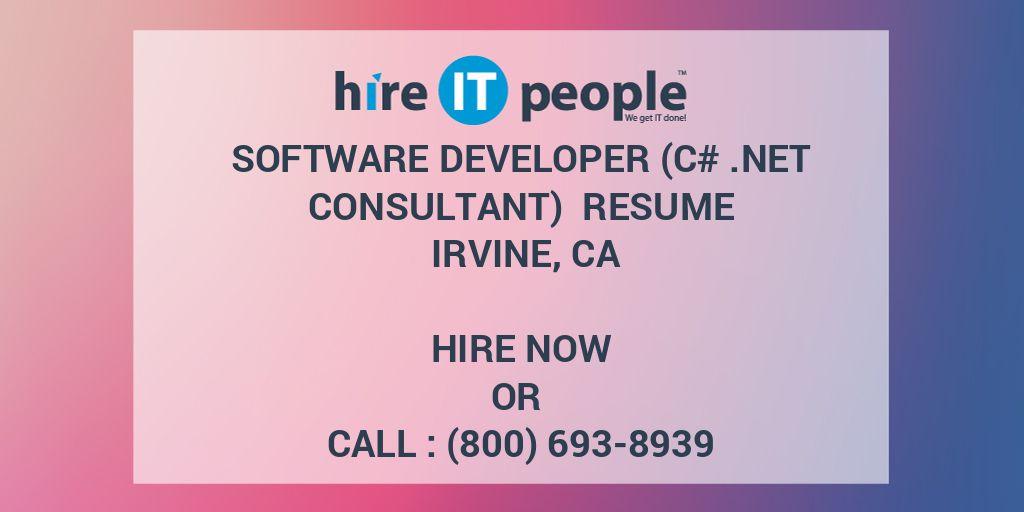 Software Developer (C#  Net Consultant) Resume Irvine, CA - Hire IT