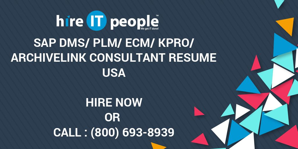 SAP DMS/PLM/ECM/KPro/ArchiveLink consultant Resume - Hire IT People
