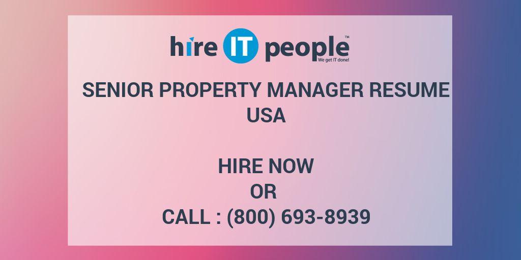 Senior Property Manager Resume