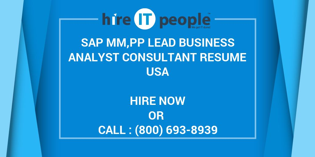 sap mm pp lead business analyst consultant resume