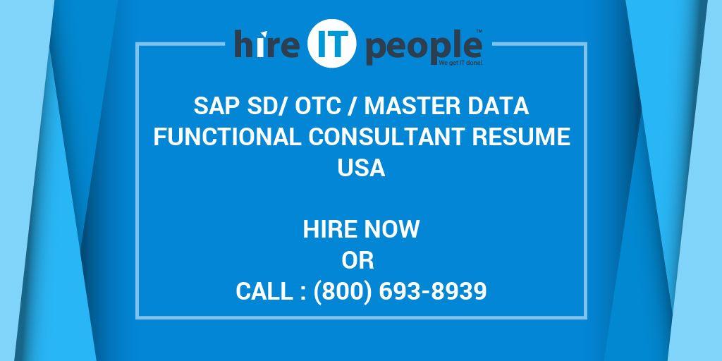 Sap Sdotc Master Data Functional Consultant Resume Hire It