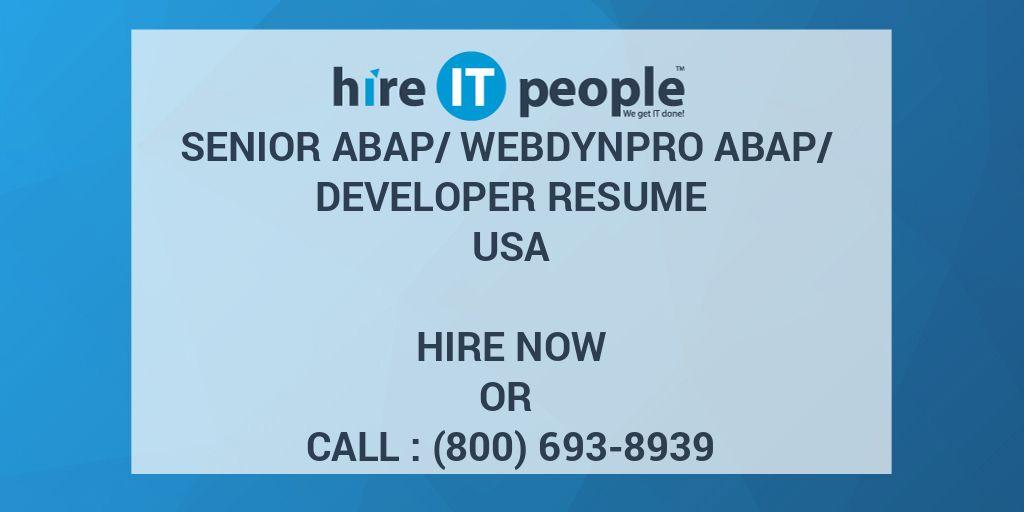 Senior ABAP/Webdynpro ABAP/ Developer Resume - Hire IT