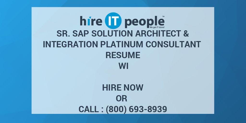 Sr  SAP Solution Architect & Integration Platinum Consultant Resume