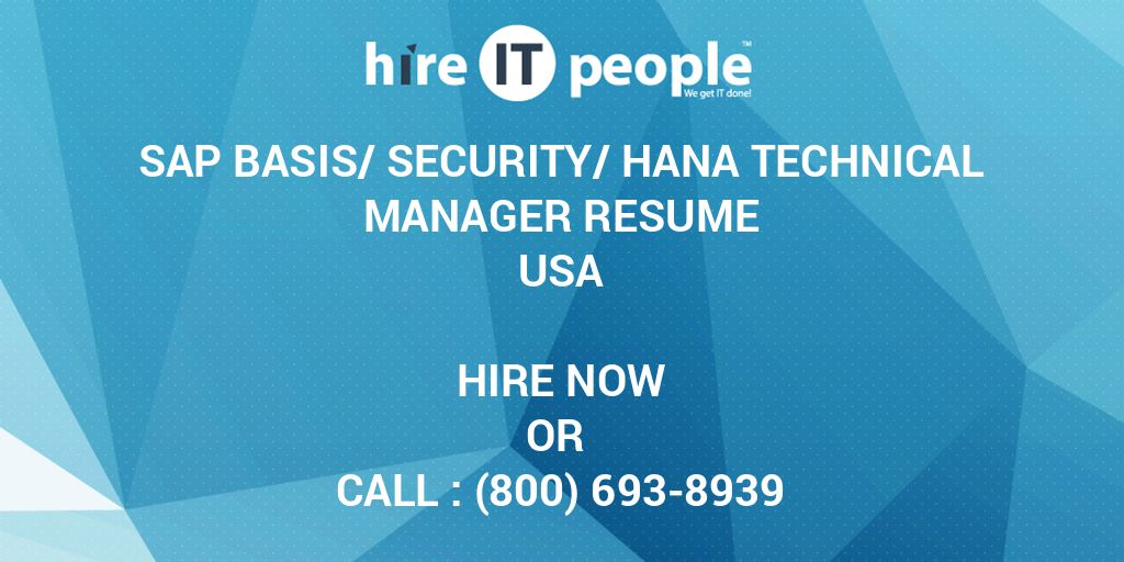 Sap Basis Security Hana Technical Manager Resume Hire It