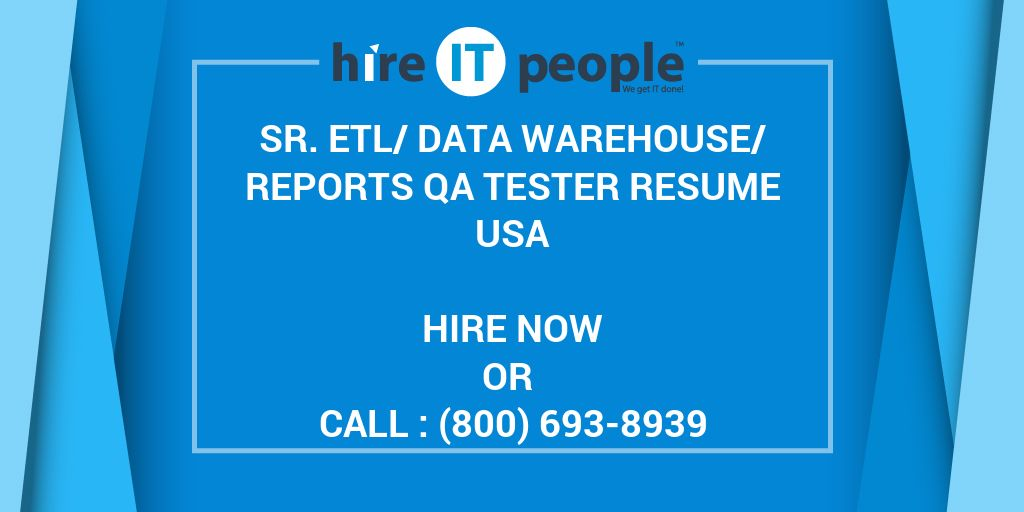 Resum E Excel Sr Etldata Warehousereports Qa Tester Resume  Hire It People  Functional Style Resume with Sample Retail Manager Resume Word Sr Etldata Warehousereports Qa Tester Resume  Hire It People  We Get  It Done Sample Resume Receptionist Pdf