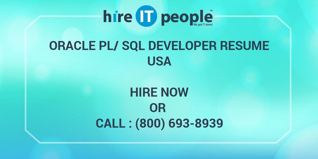 Oracle PL/SQL developer Resume - Hire IT People - We get IT done