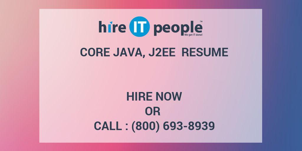 Core Java J2EE Resume
