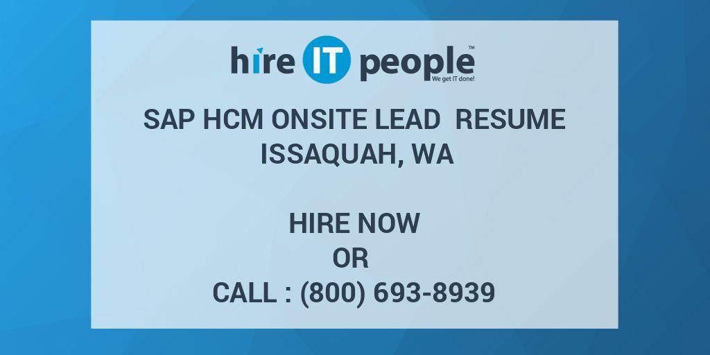 sap hcm onsite lead resume issaquah  wa