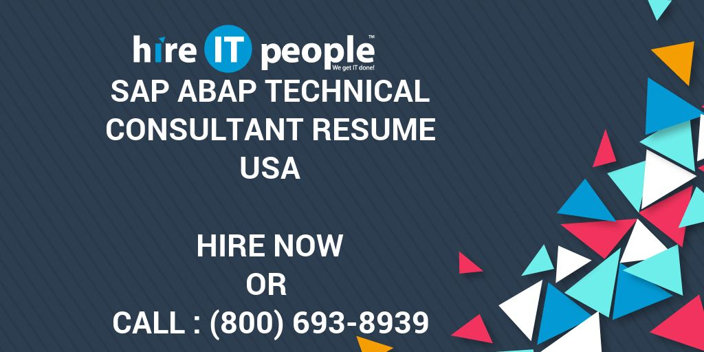 sap abap technical consultant resume - hire it people