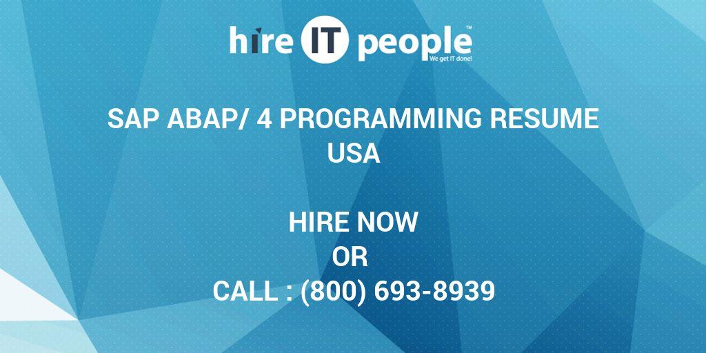 SAP ABAP/4 programming Resume - Hire IT People - We get IT done