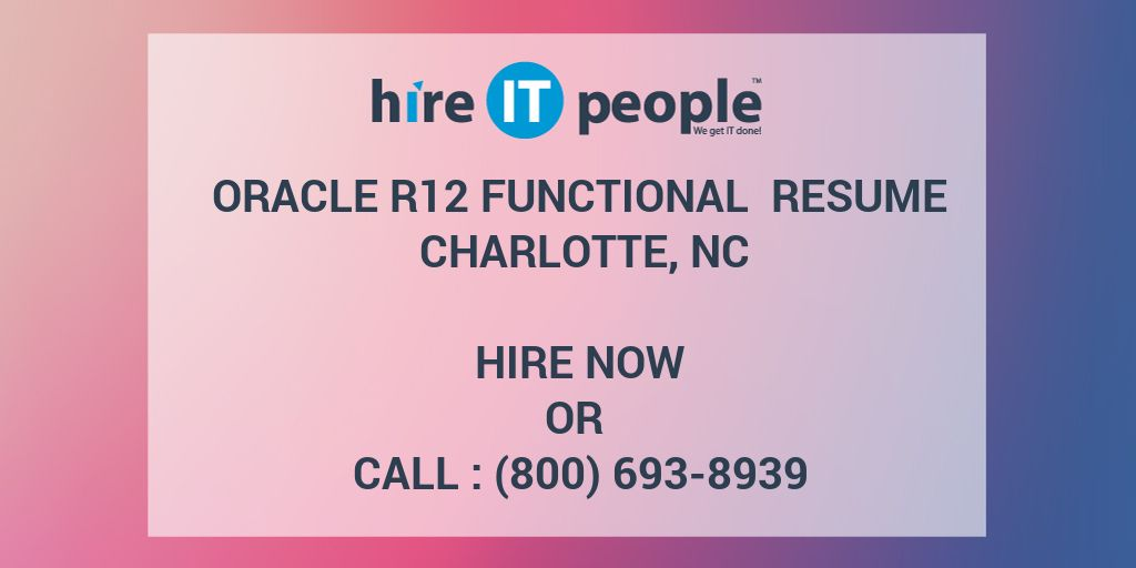 Resume For Software Engineer Pdf Oracle R Functional Resume Charlotte Nc  Hire It People  We  It Resume Summary Pdf with Qualification Summary Resume Oracle R Functional Resume Charlotte Nc  Hire It People  We Get It Done Volunteer Work Resume Word