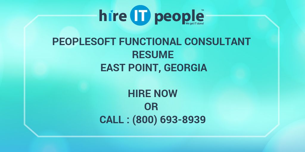 peoplesoft functional consultant resume east point
