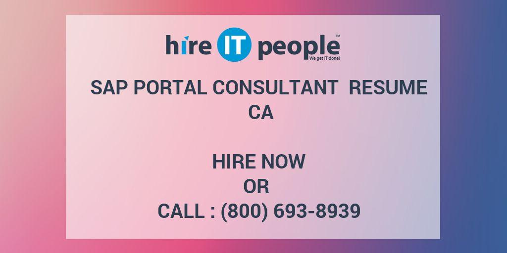 sap portal consultant resume ca - hire it people
