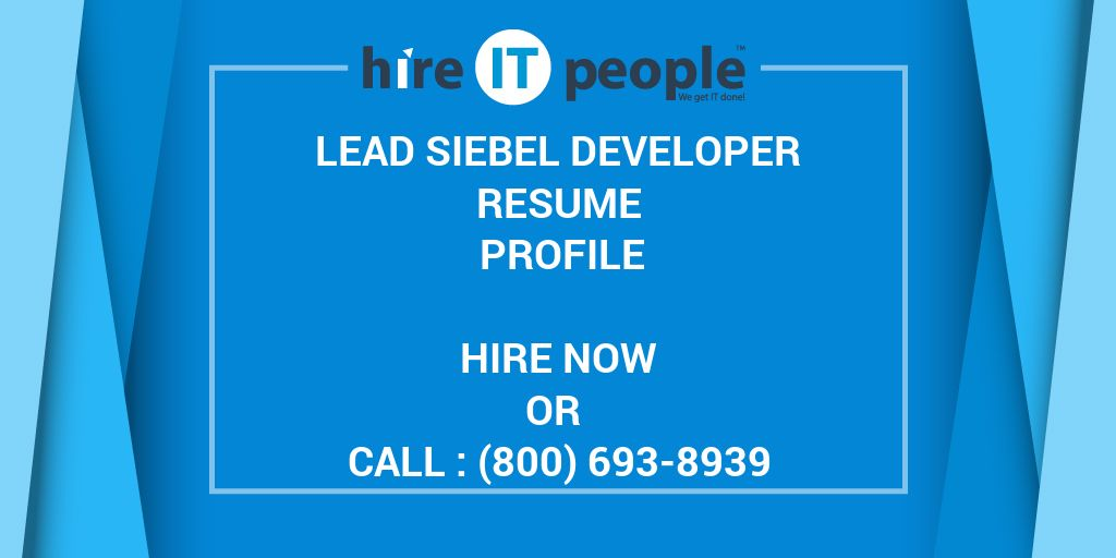 Lead Siebel Developer Resume Profile - Hire IT People - We get IT done