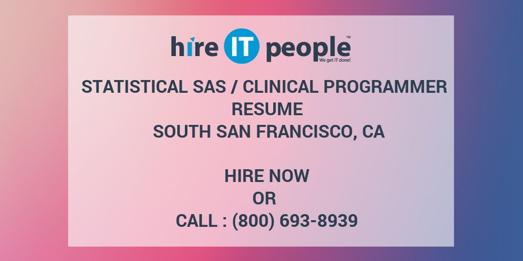 Skills And Abilities On A Resume Word Statistical Sas Clinical Programmer Resume South San Francisco  Sample Hr Resumes Word with Software Test Engineer Resume Statistical Sas Clinical Programmer Resume South San Francisco Ca  Hire  It People  We Get It Done What Is A Cv Resume Word