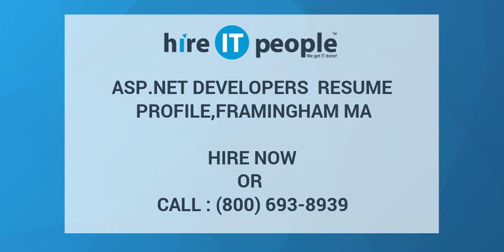 ASP net developers Resume profile,Framingham MA - Hire IT People