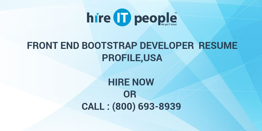 Front End Bootstrap Developer Resume Profileusa