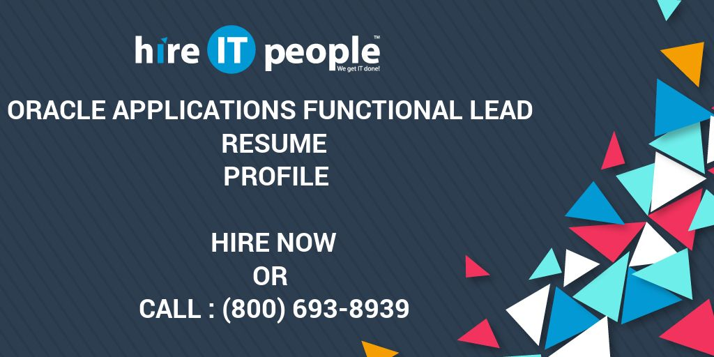Oracle Applications Functional Lead Resume Profile - Hire IT People