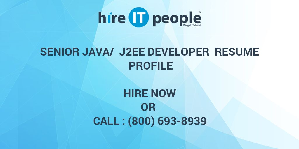 Senior Java J2EE Developer Resume Profile