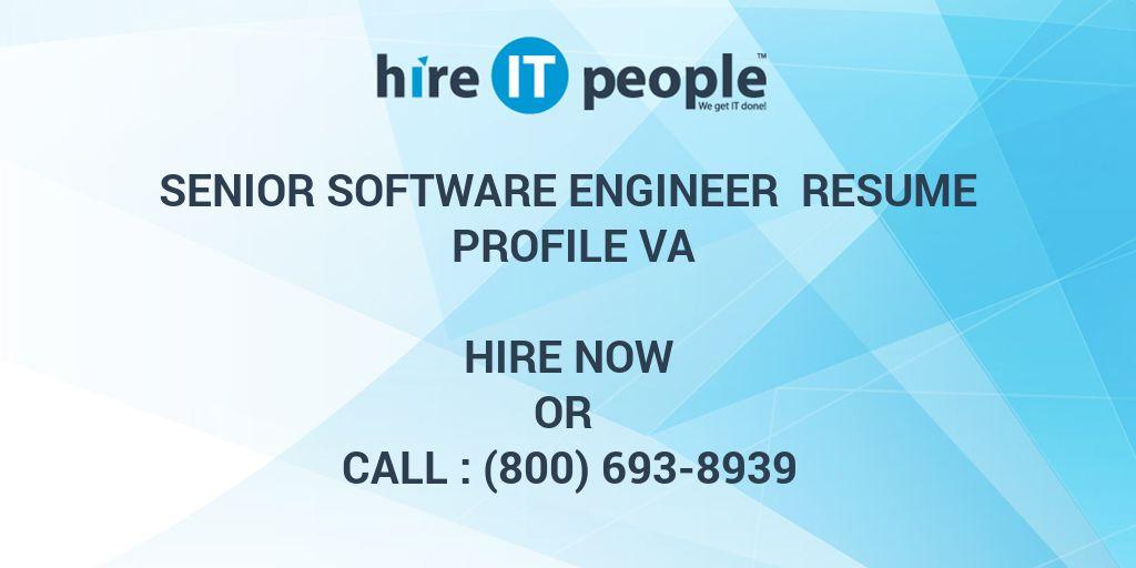 Senior Software Engineer Resume profile Va - Hire IT People - We get ...
