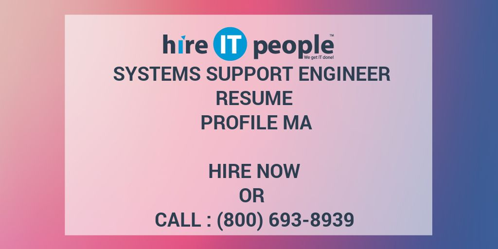 Technical Support Engineer Resume Hire It People