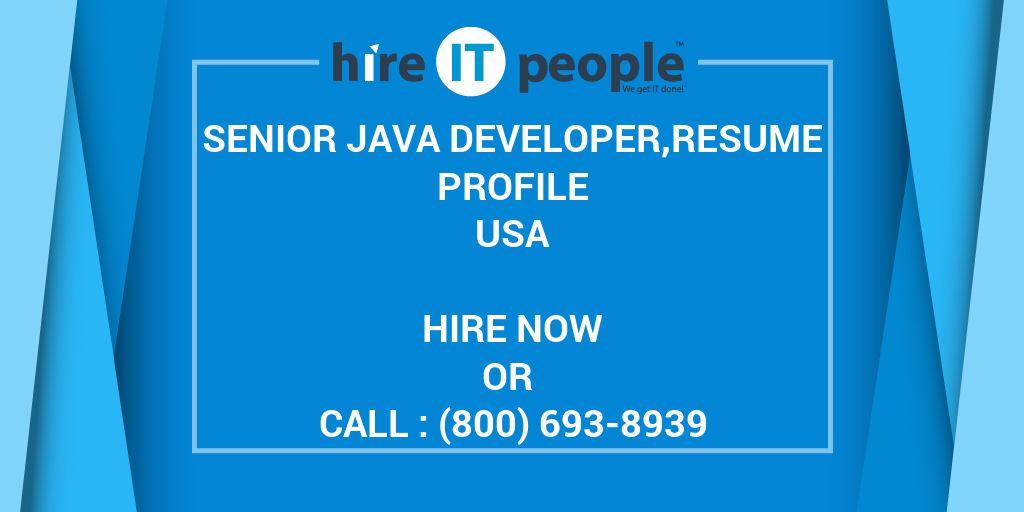 senior java developer resume profile - hire it people