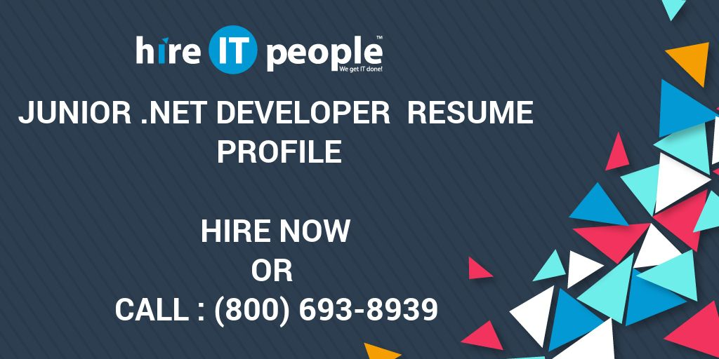 junior net developer resume profile hire it people we get it done