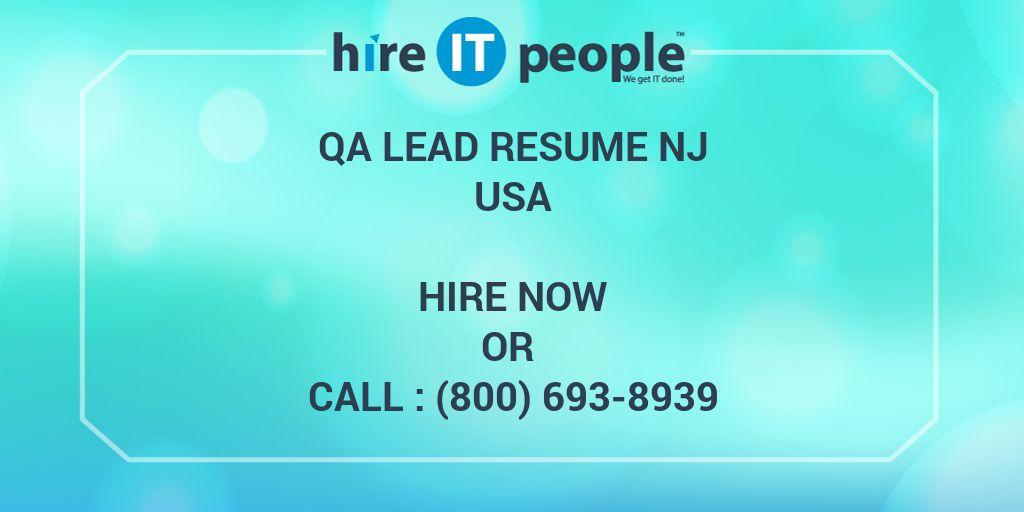 qa lead resume nj - hire it people