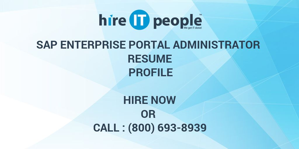 sap enterprise portal administrator resume profile