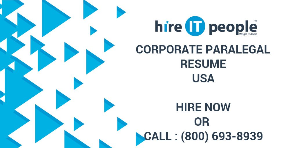 corporate paralegal resume hire it people we get it done