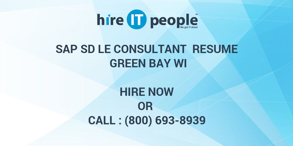 sap sd le consultant resume green bay wi