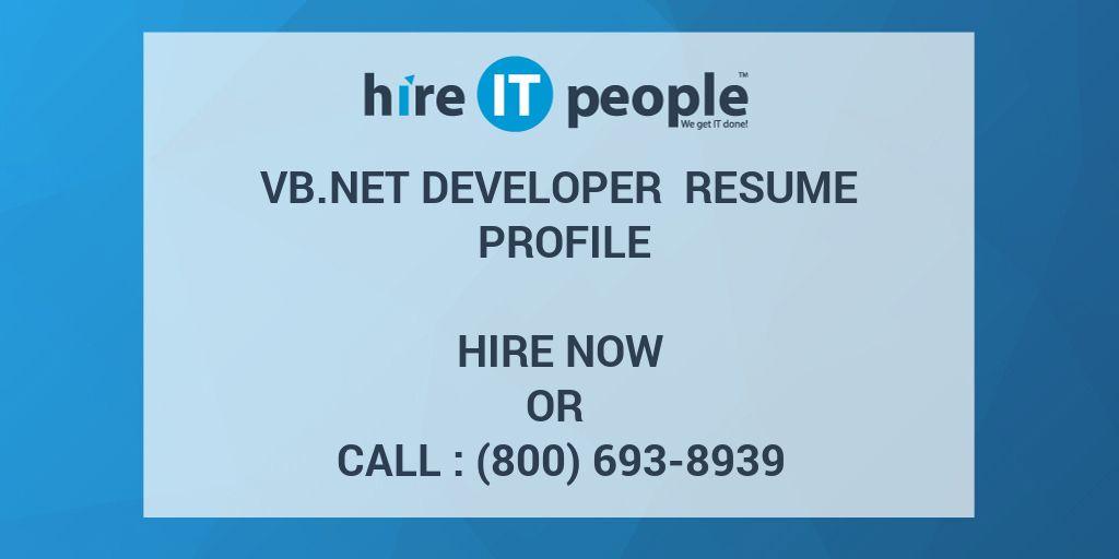 vb net developer resume profile hire it people we get it done