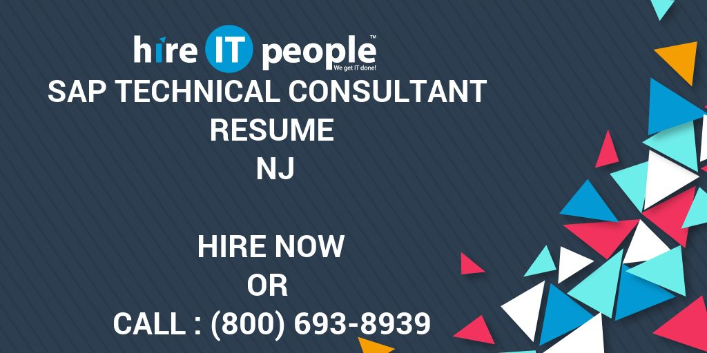 Sap Technical Consultant Resume Nj Hire It People We Get It Done
