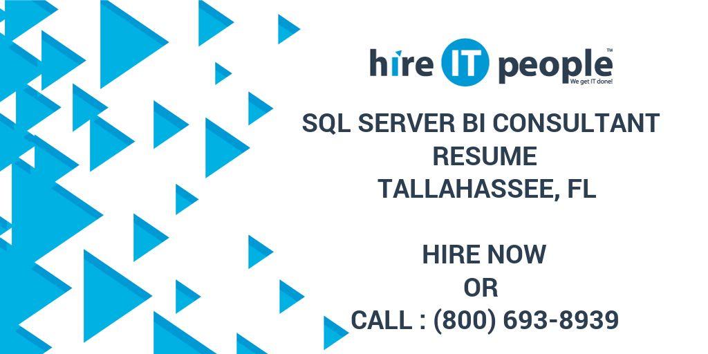 SQL Server BI Consultant Resume Tallahassee, FL - Hire IT People ...