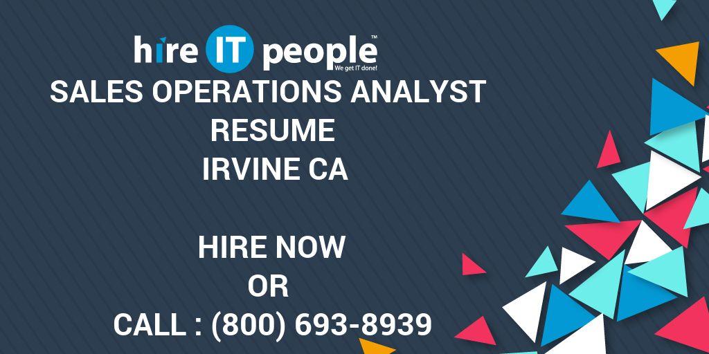 Sales Operations Analyst Resume Irvine CA