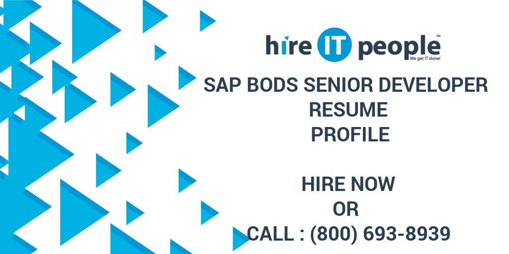 sap bods senior developer resume profile hire it people we get