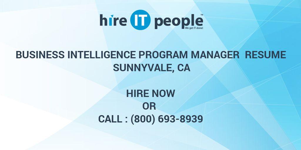 business intelligence program manager resume sunnyvale  ca