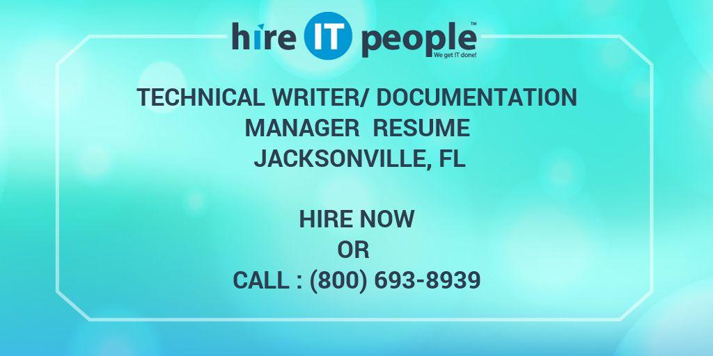 Technical Writer/Documentation Manager Resume Jacksonville, FL ...