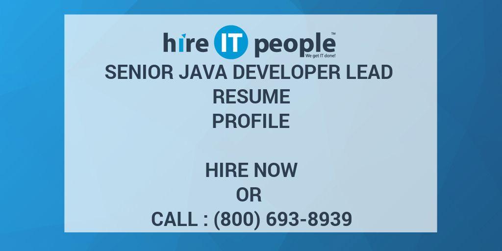 senior java developer lead resume profile  hire it people