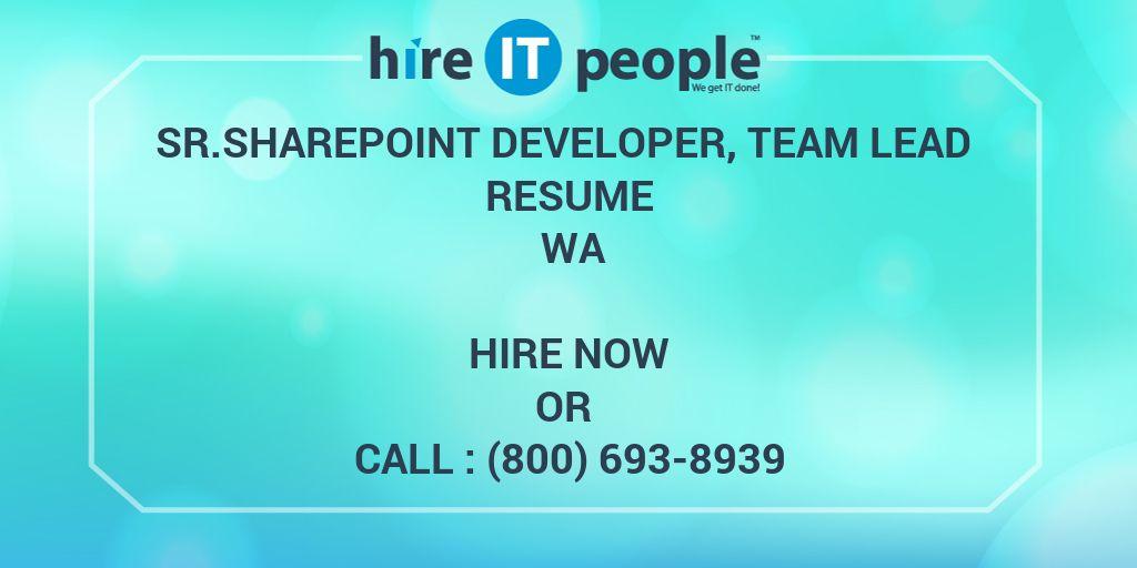 sr sharepoint developer  team lead resume wa